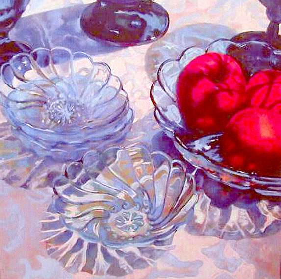 """Berry Bowls & Nectarines"" by Carol Reeves, Oil, 40"" x 40"""