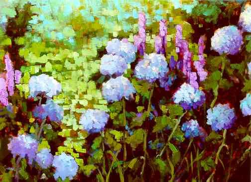 """Hydrangea Series I"" by Carol Reeves, Oil, Landscape"