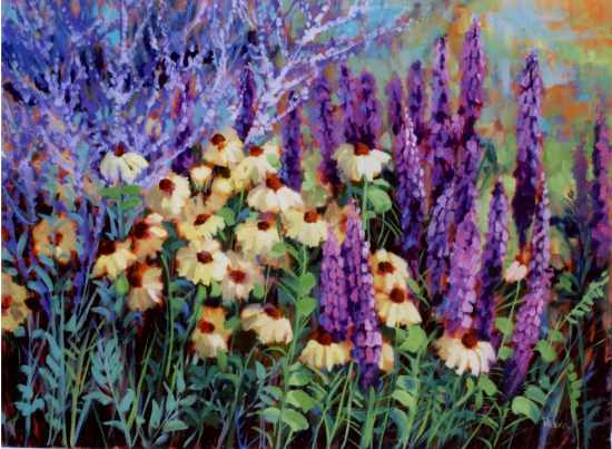 """Rudecia and Lupine"" by Carol Reeves, Oil, 30"" x 40"""