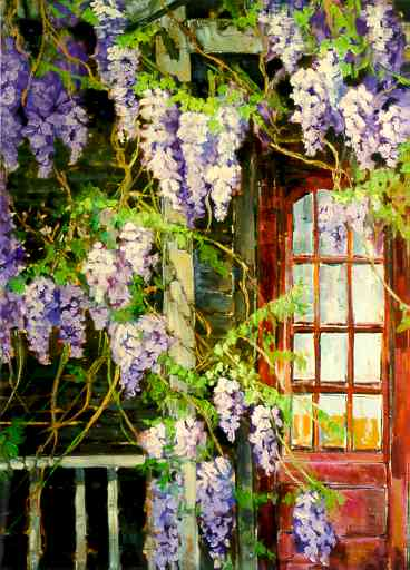 """Wisteria"" by Carol Reeves, Oil, Landscape"